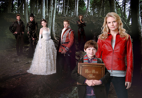 Once Upon a Time Promotional Shot of Emma, Henry, Snow White, Prince Charming, Mr. Gold, The Evil Queen and the Huntsman