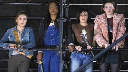 """Showtime.""-- (Left to right) Kennedy (Iyari Limon), Rona (Indigo), Chloe (Lalaine), and Vi (Felicia Day) are the ""Potentials,"" the new slayer students on BUFFY THE VAMPIRE SLAYER Photo: Robert Voets/ UPN ©2002 UPN. ALL RIGHTS RESERVED."