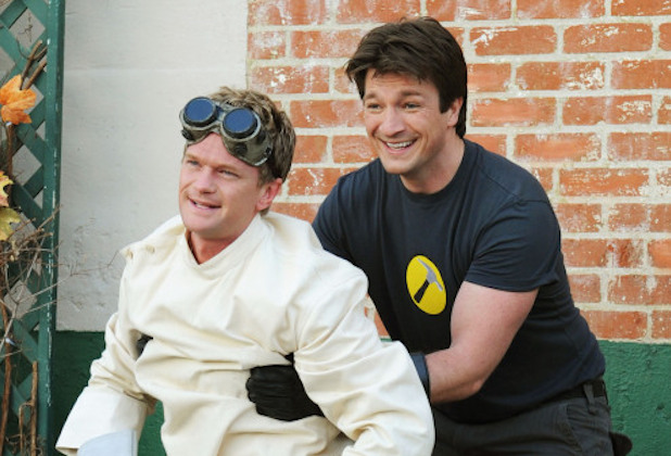 Dr. Horrible's Sing-Along Blog -- Image DH_2178 -- Pictured (L-R): Neil Patrick Harris as Billy and Nathan Fillion as Captain Hammer -- Credit: Amy Opoka/Courtesy of Timescience Bloodclub, LLC -- © 2008 Time Science Blood Club, LLC.