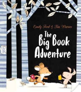 The cover of The Big Book Adventure that features an illustrated fox and pig carrying books.