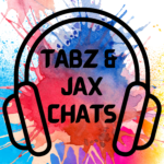 """Logo for """"Tabz and Jax Chats"""" podcast it features a set of headphones and a multi colored background."""